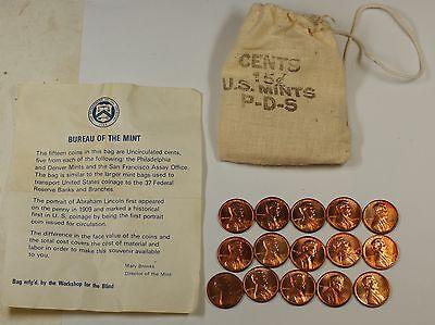 1973 PDS souvenir Mint Visit Penny Bag 5P 5D 5S US Mint Cents 15 Coins Total