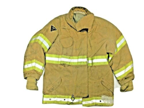 48x35 Janesville 2000 Firefighter Brown Turnout Jacket Coat w/ Yellow Tape J900