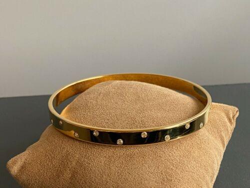 Swarovski Swan Signed Staggered Crystal Studded Gold Tone Bangle Bracelet
