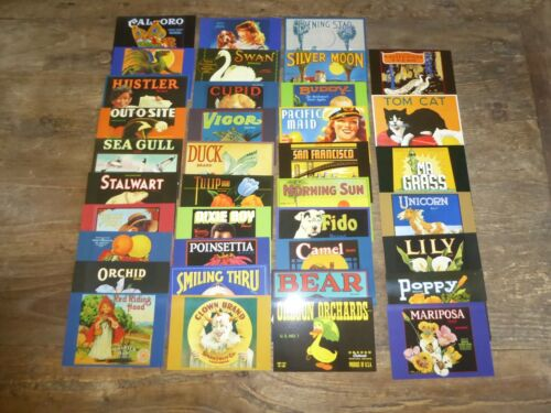 LOT 37 DIFFERENT NOS DEADSTOCK CRATE LABEL POSTCARDS ADVERTISING NICE QUALITY L9