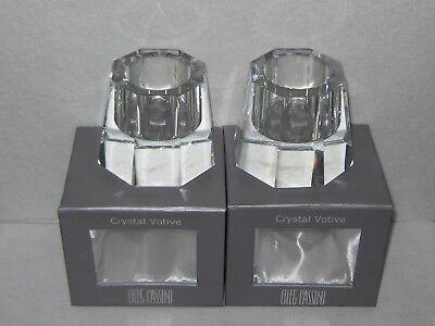Oleg Cassini Crystal Votive Set of 2  Octagon Signed 100741 NIB Crystal Votive