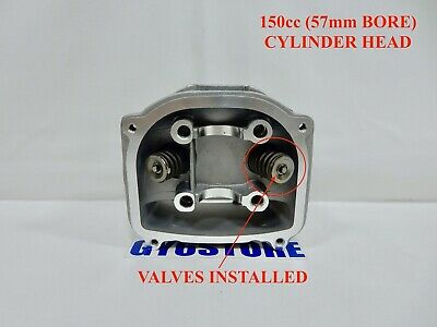 150cc (57mm BORE) CYLINDER HEAD *WITH VALVES INSTALLED * FOR GY6 MOTORS