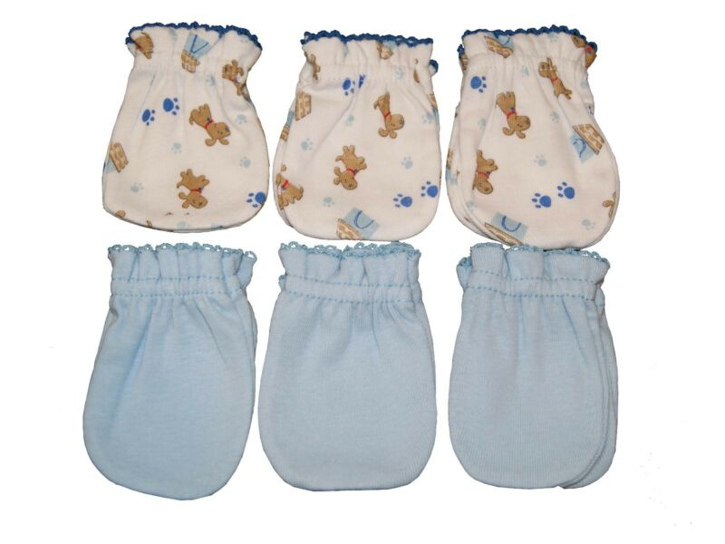 6 Cotton Newborn Baby/infant No Scratch Mittens Gloves - Blue Mix Little Dog