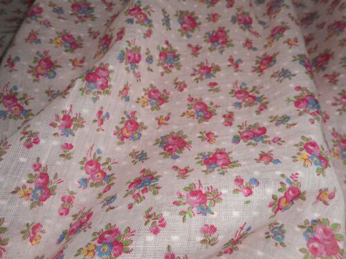 Antique Floral Roses Small Scale Swiss Dot Cotton fabric ~ Pink Blue ~ dolls