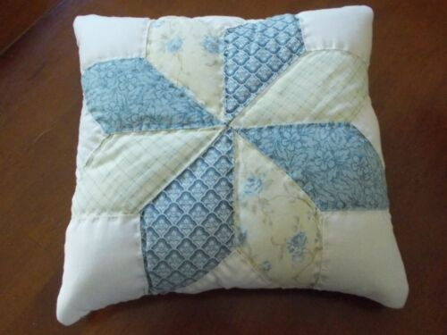 Vintage Quilted Pillow Yellow & Blue Star Machine Pieced Cutter Quilt Blue Back