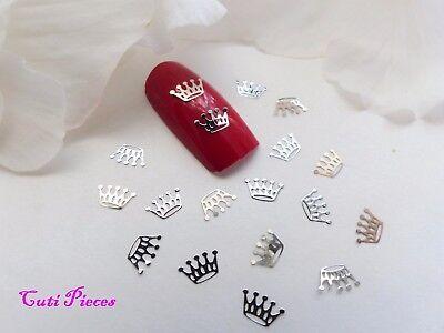 50pc Nail Art Sliver Light Gold Princess Crowns Small Thin Metal Spangles CR1