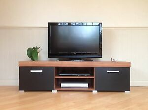 2 Door TV Cabinet Plasma Low Bench Stand Unit Black White Graphite Walnut NEW!