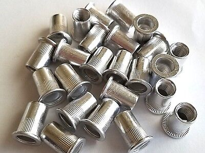25pcs M10 10mm Flat Head Aluminum Rivet Nut Rivnut Insert Nut