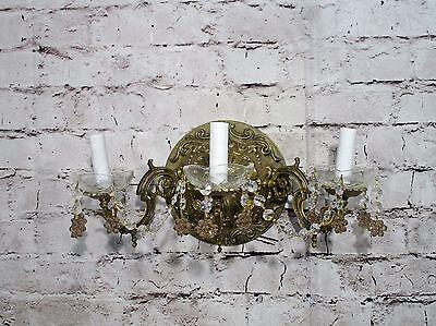 Antique Vintage Sconce Bronze Ornate 3 Light Crystal Flowers Rewired Bronze Ornate Flowers