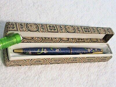 Vintage Blue Floral Chinese Cloisonne Enamel Ballpoint Pen in Original Cloth (Cloisonne Pen)