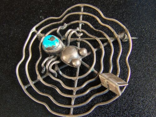 Vintage Silver Navajo Spider Pin with Web-Morenci Turquoise