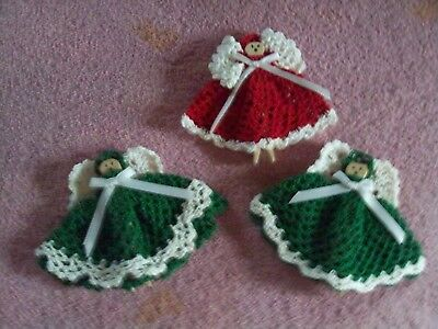 Set of 3 Clothespin Angel ornaments christmas decor crochet handmade #3 (Crochet Christmas Ornaments)