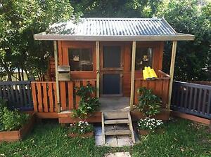 AARON'S WOODEN CUBBY HOUSE WITH SLIDE Newport Pittwater Area Preview