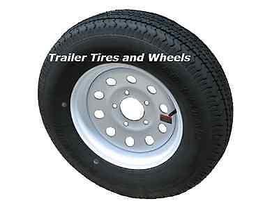 """ST185/80R13 LRD 8 PR KK Radial Trailer Tire on 13"""" 5 Lug White Mod Trailer Wheel"""