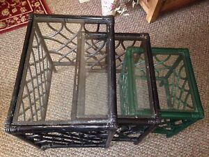 3 glass end tables