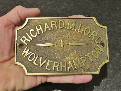Victorian Brass Safe Makers Plate Richard.M.Lord Wolverhampton.