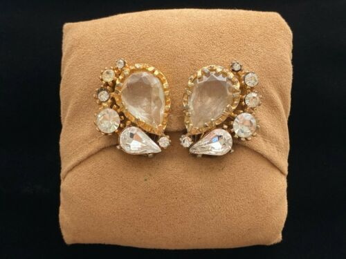 Vintage Signed ART Prong Set Crystal Rhinestone Gold Tone Clip Earrings