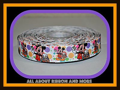 7/8 INCH MICKEY MOUSE EASTER BASKET PRINT ON POLKA DOT GROSGRAIN-1 YARD