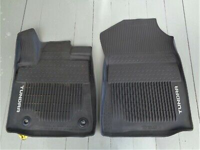 2014-2018 Toyota Tundra OEM Front All Weather Rubber Liner FLOOR MATS Good!