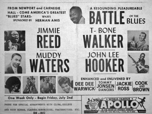 """Muddy Waters / John Lee Hooker Apollo NYC 16"""" x 12"""" Photo Repro Concert Poster"""