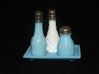 ANTIQUE VICTORIAN BLUE OPAQUE GLASS FORGET-ME-NOT PEEWEE SALT AND PEPPER SET