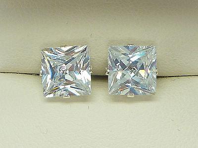 DIAMOND SILVER STUD EARRINGS SQUARE PRINCESS CUT 6MM CLEAR CREATED STONE