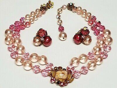 Vintage Signed DEMARIO Pink Crystal Faux Pearl ART GLASS Necklace & Earrings segunda mano  Embacar hacia Argentina