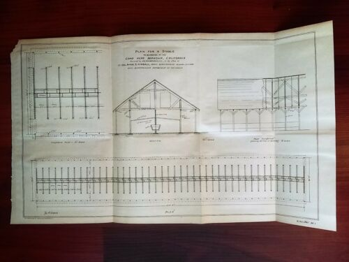 1896 Sketch Diagram of Army Camp Wawona CA STABLE Col Kimball Quartermaster