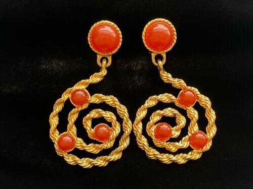 Vintage Avon Carnelian Red Cabochon Scrolling Gold Tone Dangle Clip Earrings