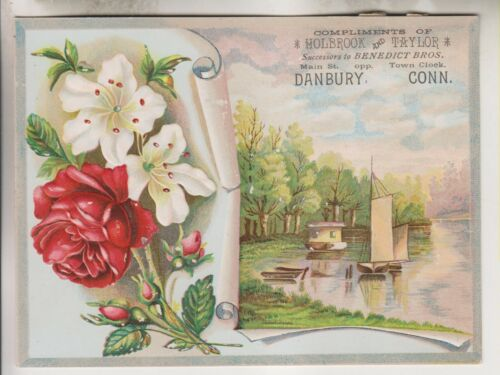VINTAGE ADVERTISING CARD - HOLBROOK AND TAYLOR - MAIN ST DANBURY CONNECTICUT