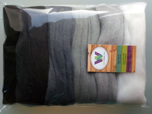 Grey set* Pure Wool Tops for felting 6 colours: White Grey Black, Packs of 60 g