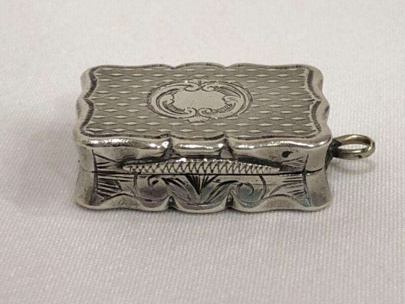 1859 Antique Sterling Silver Vinaigrette Edward SmithBirmingham England