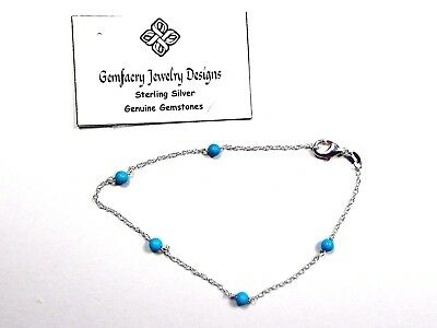 Sterling Silver Natural TURQUOISE Gemstone Beaded Link Anklet...Handmade USA
