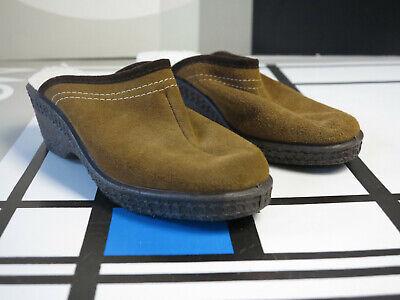 Herren Wildleder Leder Clog (Wildleder Herren Clogs Pantolette Schuhe 36 braun True Vintage OVP slippers NOS)