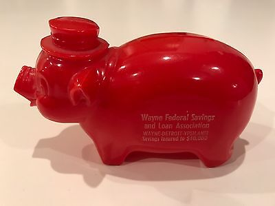 Vintage Antique Red Wayne Federal Savings Plastic Celluloid Piggy Bank Coin Bank