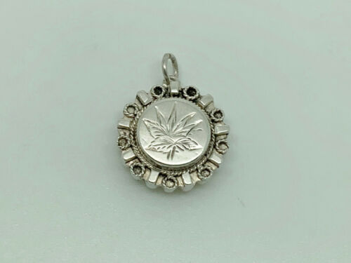 Antique Victorian Sterling Silver Embossed Aesthetic Leaf Dainty Charm/Pendant
