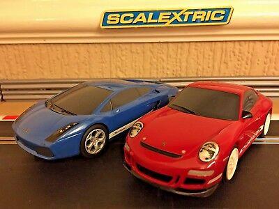 Scalextric Lamborghini Gallardo & Porsche GT3RS Fully Serviced & New Braids