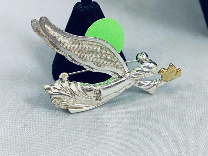 VTG. SHINY SILVER & GOLD TONE FLYING ANGEL & BIRD MESH WINGS BROOCH