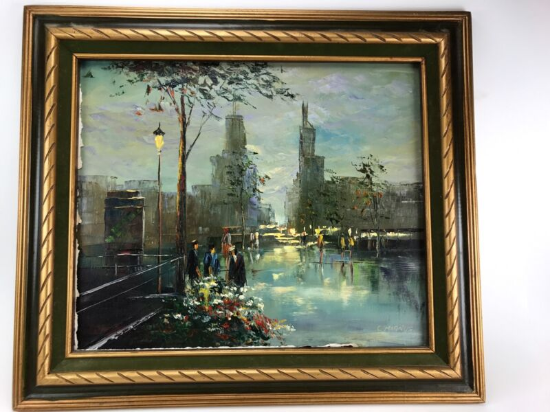 C. Magnus Original Oil On Canvas Chicago City Scape Painting Art Fast Ship wow