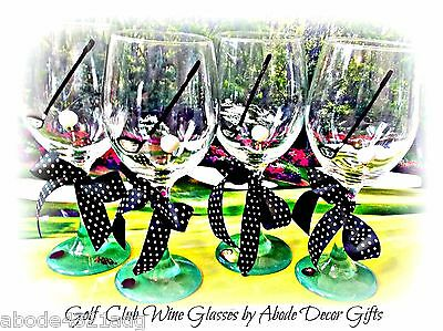Golf Club Ball Golfer Wine Glass Bar Painted Gift Tournament Party