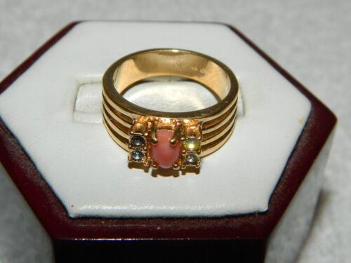 Avon Goldtone Pink Coral Stone & Clear Rhinestone Costume Fashion Ring Size 5.75