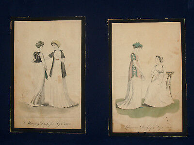 2 PAIR ANTIQUE PRINT HAND COLORED LADIES FASHION DRESS DATED 1800