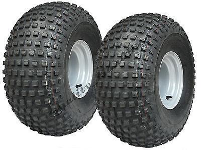 2pcs  22 x 11 - 8  knobby tyres on 4 stud rims - ATV trailer - quad wheels