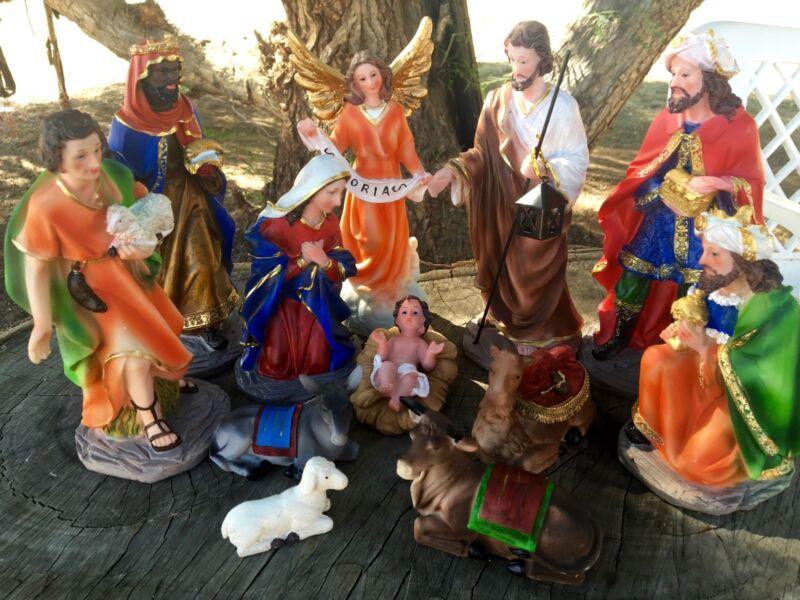 8 inch Christmas Nativity Scene Set Figures Resin  Figurines Baby Jesus-12-PIECE