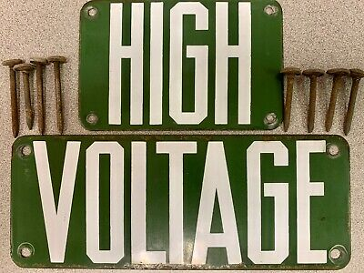 PORCELAIN SIGN High Voltage Green Power Line 2 piece With nails! Vintage