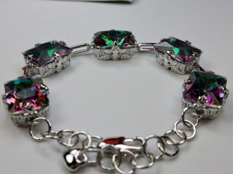 50ct  SimMystic Topaz Rhodium Plated Deco Filigree Link Bracelet (Made To Order)