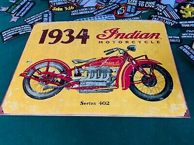 INDIAN MOTORCYCLE 1934 Tin Metal Sign Wall w/ FREE PATCH decor vintage man cave