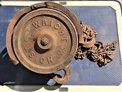 Vintage Wright Hoist 1 Ton Hoist With Chain Model Bb Industrial Steampunk Dcor