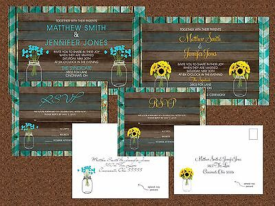 Wedding Invitations Mason Jar Wood Country Chevron 50 Invitations & RSVP Cards ()