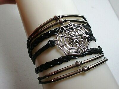 Black Multi Strand Leather & Cord Bracelet Spider Web w/ Spider & Skull Charm